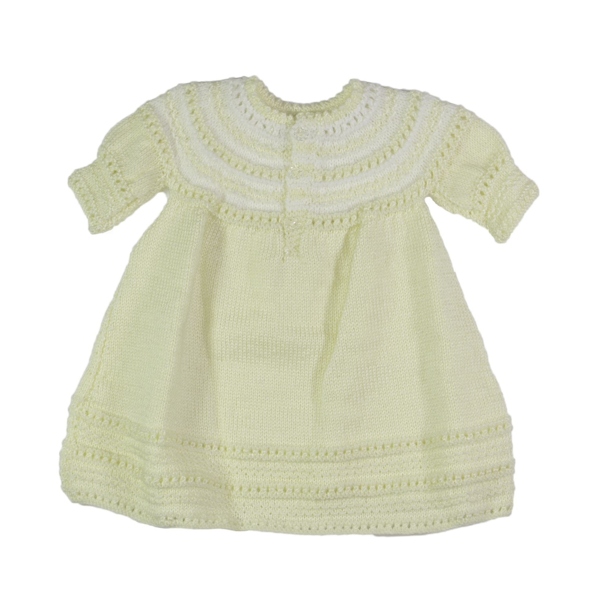 Hand Knitted Girls Dress Lemon and White Baby Rules
