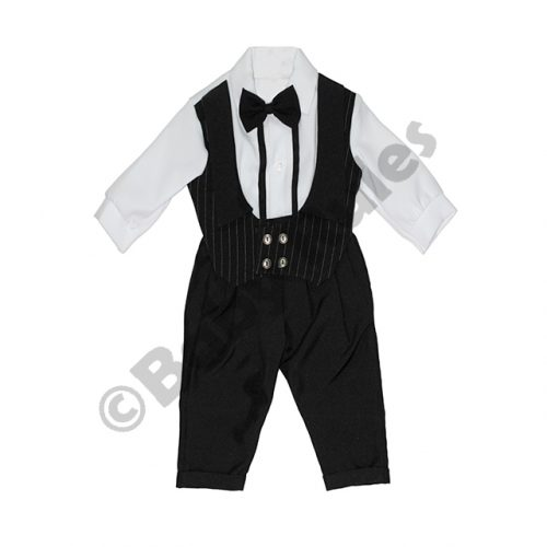 Christening Boys Black pinstripe waistcoat, white cotton shirt with white cuffs and black bowtie Doop
