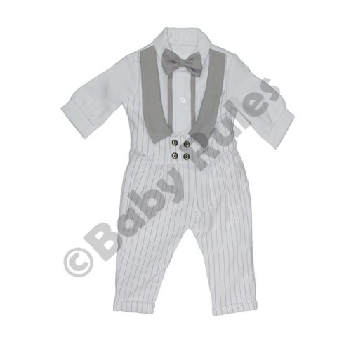 Christening Boys White long pinstripe suit with pinstripe and grey waist coat and grey bowtie doop