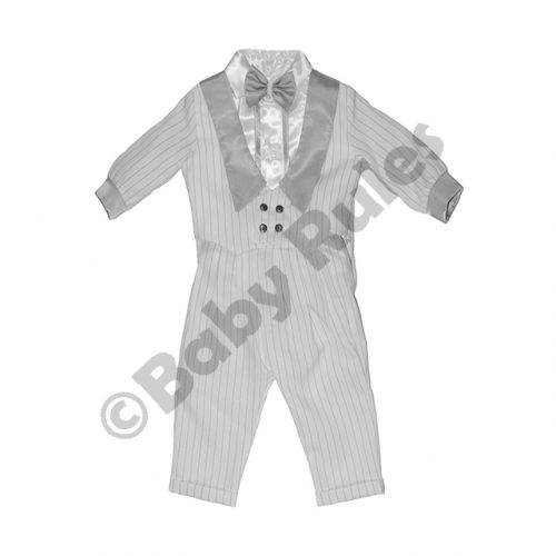 Christening Boys White long pinstripe suit with pinstripe and silver waist coat and silver bowtie doop