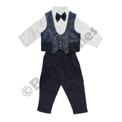 Christening Boys Long navy pinstripe pants, white long-sleeved shirt, leather-look waistcoat and navy pinstripe bowtie doop