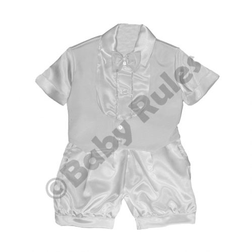 Christening Boys Plain white suit, satin shirt and pants with white bowtie