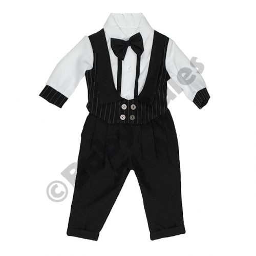 Christening Black pinstripe waistcoat, white cotton shirt with black cuffs and black bowtie Doop