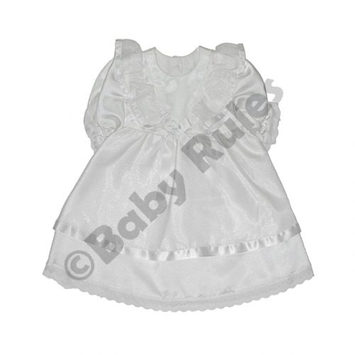 Christening Girls White with satin bow and lace and ribbon detail doop