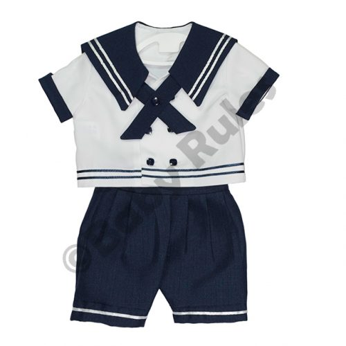Christening Boys Sailor suit with navy pants, white shirt and navy trim doop