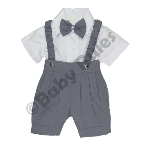 Christening Boys Grey pants and braces with white cotton shirt & grey bowtie doop