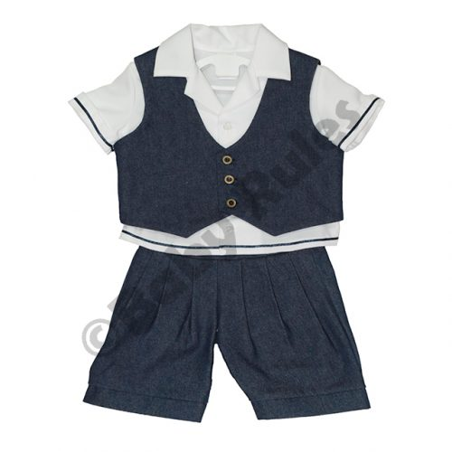 Christening Boys Denim waistcoat and denim shorts with white cotton shirt doop