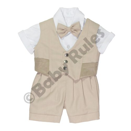 Christening Boys Khaki suit, waistcoat with pockets, white shirt and khaki bowtie doop