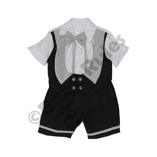Christening Boys Black and grey waist coat with white shirt and grey bowtie doop