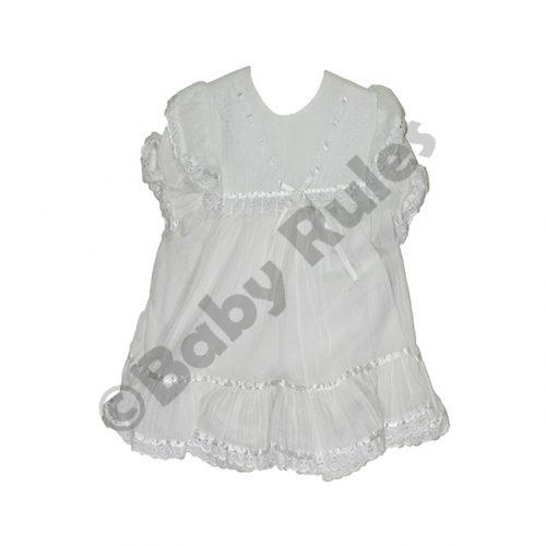 Christening Girls White Cheesecloth Pantaloon set with Satin Ribbon Detail doop