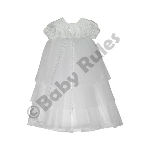 Christening Girls Long summer dress with satin, chiffon and lace overlays doop