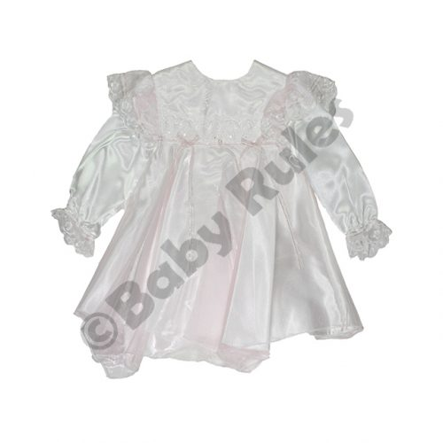 Christening Girls Dress with pantaloons – white with pink overlay and bows doop