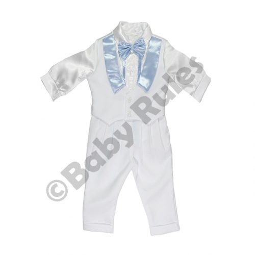 Christening Boys White satin waistcoat with blue satin lapels, blue satin bowtie and white cotton pants Doop