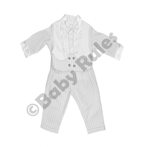 Christening Boys White pinstripe suit, waistcoat with white lapels, white satin long-sleeved shirt and bowtie doop