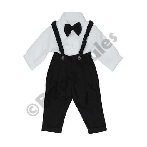 Christening Boys Long black pants and braces with long-sleeved white cotton shirt & black bowtie doop