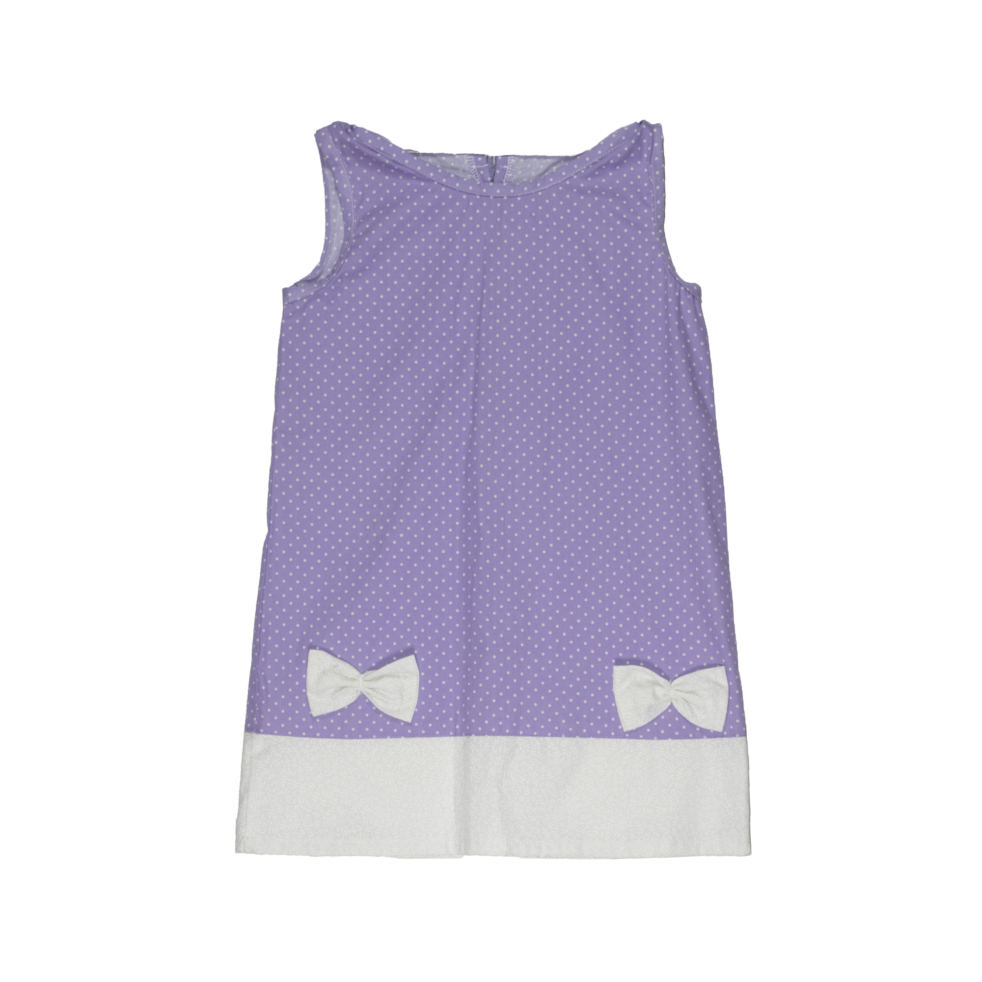 05f1dd50d10f5 Girls Dress - Purple and white polka dot cotton dress with bows