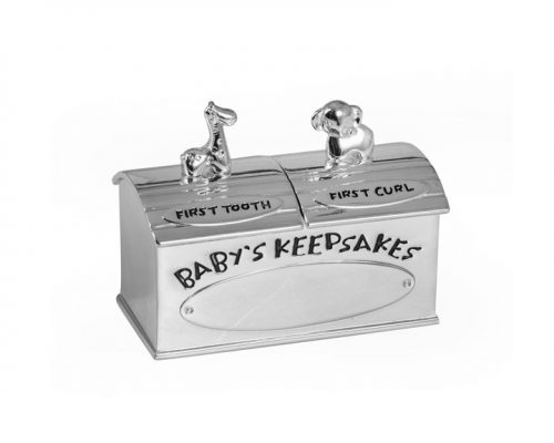 Christening Gift Animals First Tooth And Curl Box, Silver Plated