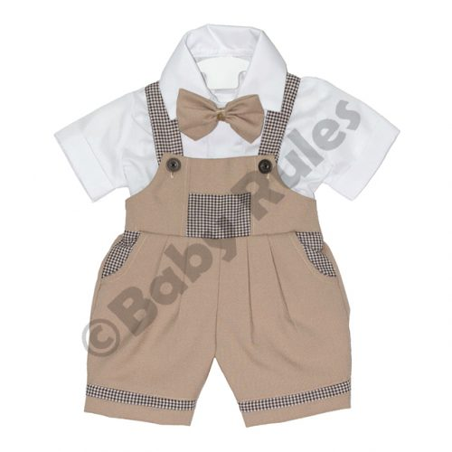 Christening Boys Khaki and check pants with white cotton shirt & bowtie doop