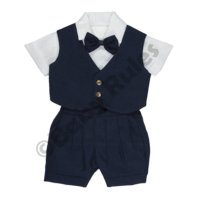 Christening Boys Navy suit With White cotton Shirt And Navy Bowtie doop