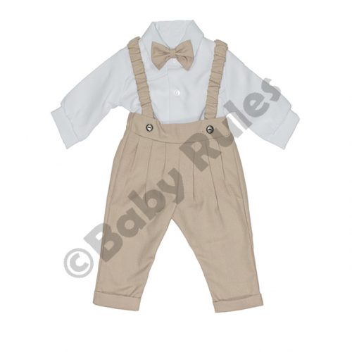Christening Boys Long khaki pants and braces with long-sleeved white cotton shirt & khaki bowtie doop
