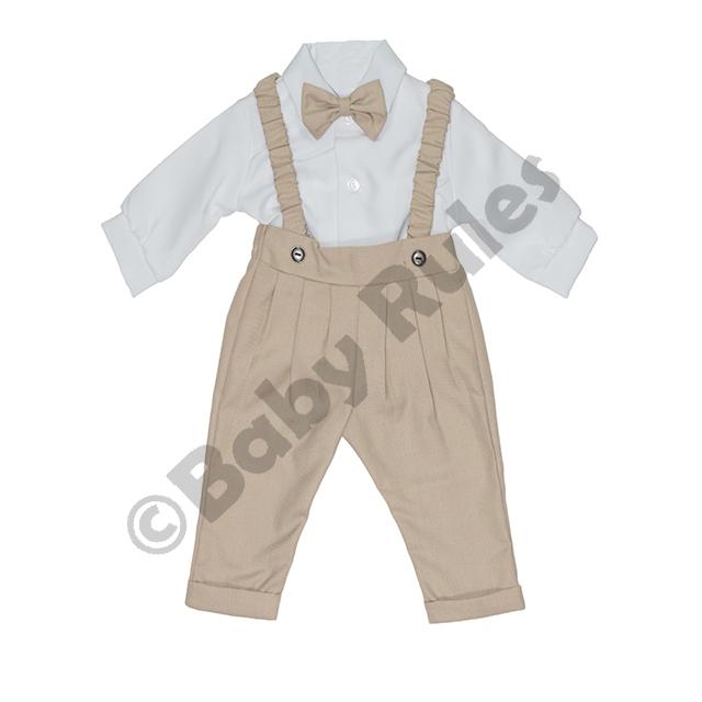 Christening Boys Long khaki pants and braces with long-sleeved white cotton shirt & khaki bowtie doop