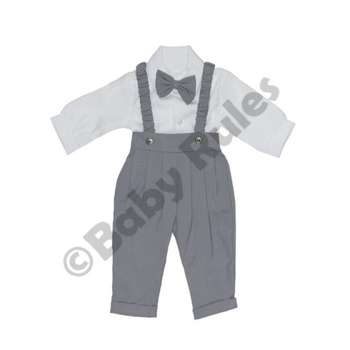 Christening Long grey pants and braces with long-sleeved white cotton shirt & grey bowtie