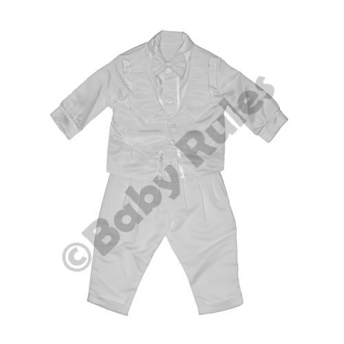 Christening Boys White satin pants, long-sleeved shirt with bowtie doop