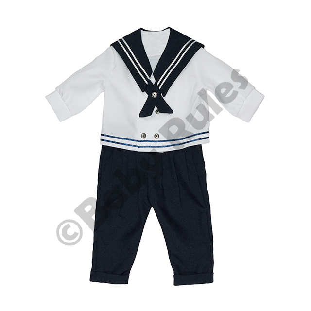Christening Boys Sailor suit with long navy pants, white long-sleeved shirt and navy trim doop