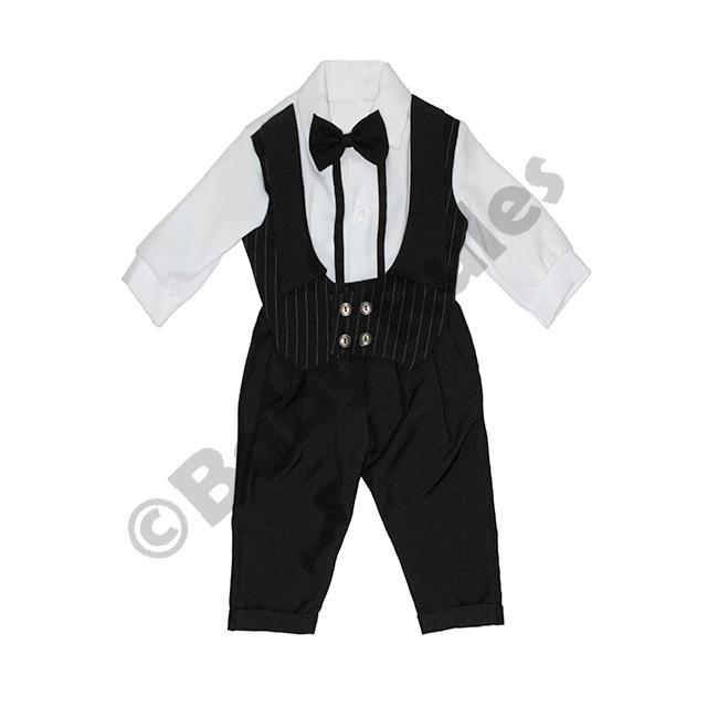 Christening Boys Black pinstripe waistcoat, white cotton shirt with white cuffs and black bowtie Doop