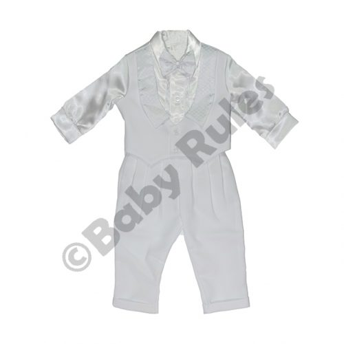 Christening Boys White suit with white shirt, waistcoat and bowtie Doop