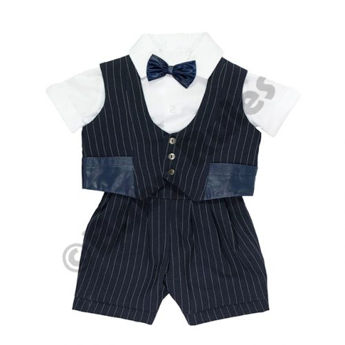 Christening Boys Navy with white pinstripe, cotton shirt and bowtie doop