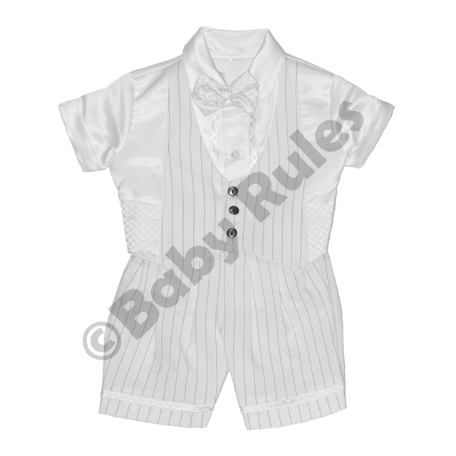 Christening Boys White pinstripe suit, simple waistcoat with white satin shirt and bowtie doop