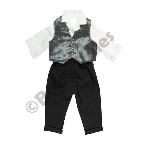 Christening Boys Long black pants with grey waistcoat doop