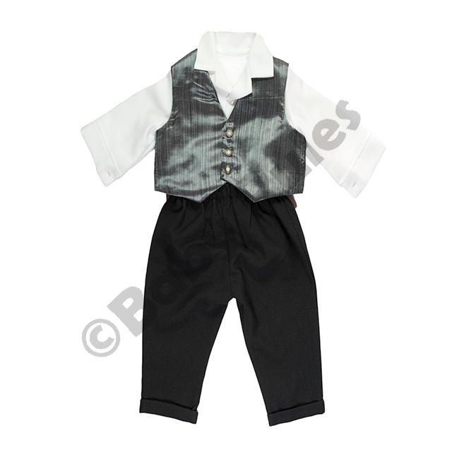 Christening Boys Long black pants with grey waistcoat doop