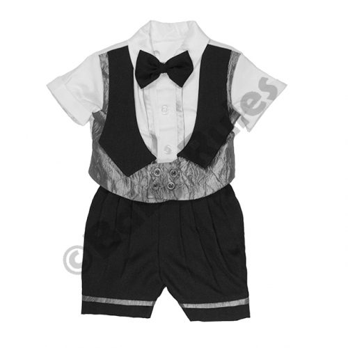 Christening Boys Black & silver waist coat with white shirt and bowtie doop