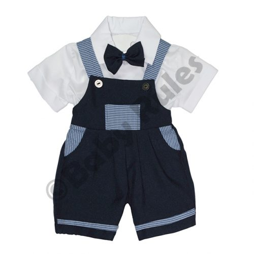 Christening Boys Navy and navy check pants with white cotton shirt & navy bowtie doop