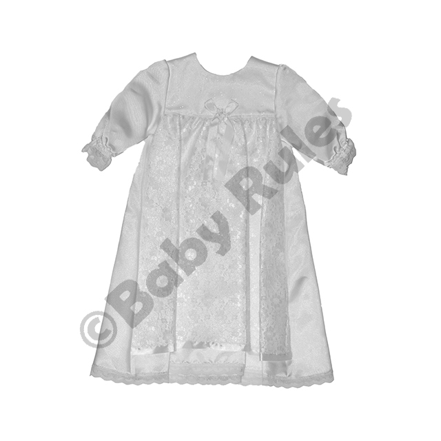 Christening Girls Full white winter dress, satin with lace overlay and ribbon trim doop