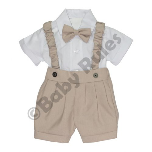 Christening Boys Khaki pants and braces with white cotton shirt & khaki bowtie doop