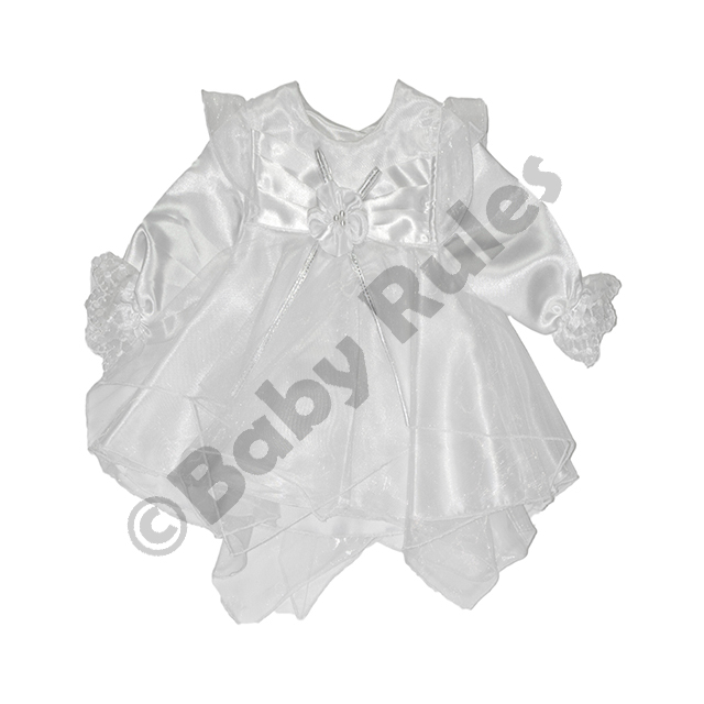 Christening Girls White pantaloon set - satin and chiffon with white flower with silver trim doop