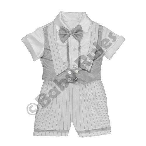 Christening Boys White pinstripe suit with silver waist coat and bowtie doop
