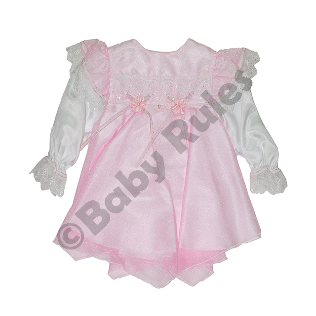 Christening Girls Pink pantaloon set - Satin with pink chiffon overlay, pink flowers and ribbons doop
