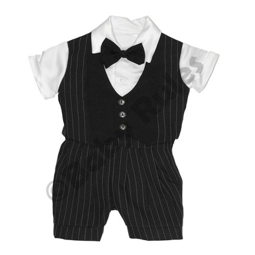 Christening Boys Black suit with white pinstripe, white shirt and black bowtie doop