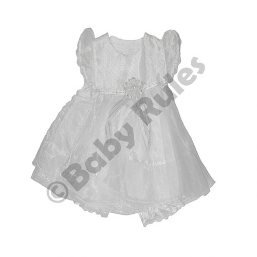 Christening Girls White pantaloon set with satin and chiffon overlay, glitter top doop