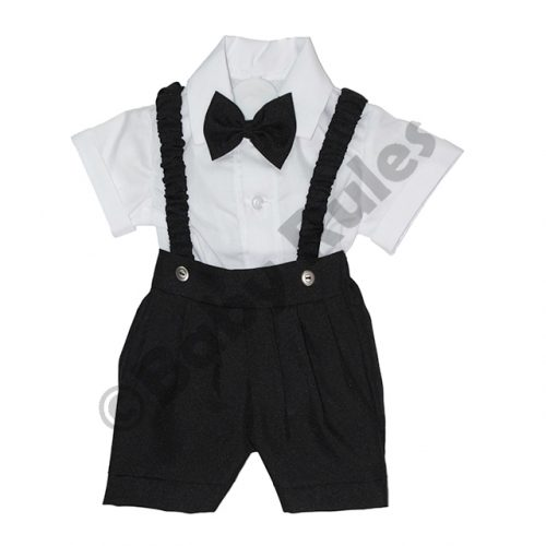 Christening Boys Black pants and braces with white cotton shirt & black bowtie doop