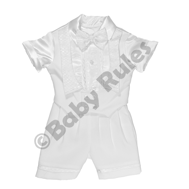 Christening Boys White suit with satin shirt and checked detail doop