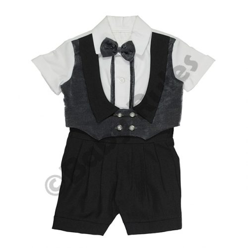 Christening Boys Black and charcoal waist coat, white cotton shirt and charcoal bowtie doop