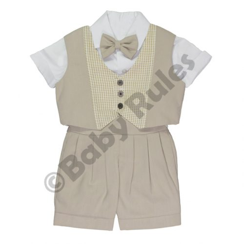 Christening Boys Khaki suit with checked waistcoat, white shirt and khaki bowtie doop