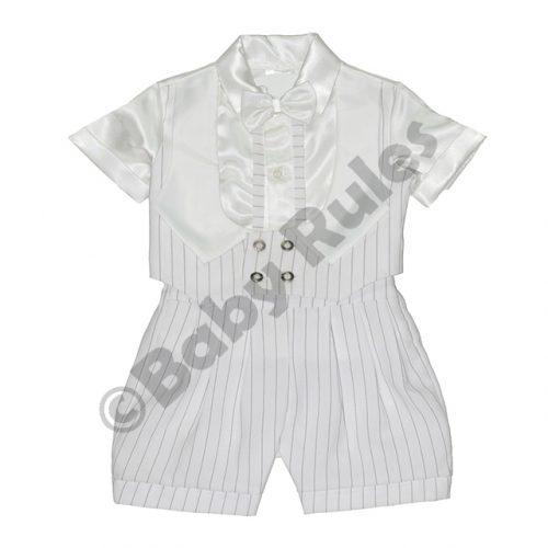 2a8ce0660c Christening Boys White pinstripe suit