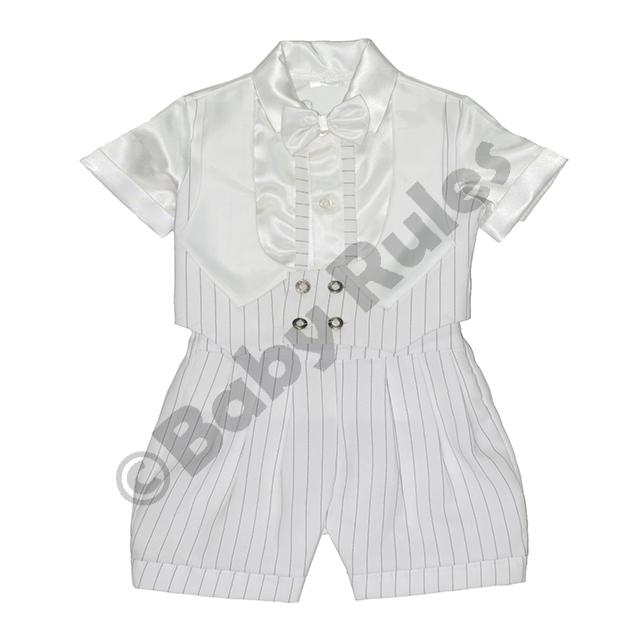 Christening Boys White pinstripe suit, waistcoat with white lapels, white satin shirt and bowtie doop