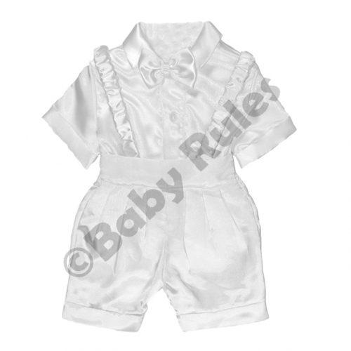 Christening Boys White satin pants and braces with white cotton shirt & white bowtie doop
